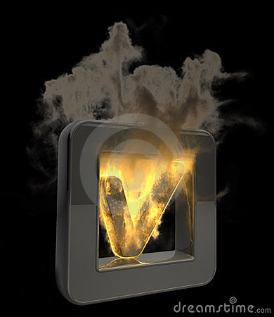 3D button Tick symbol flaming icon