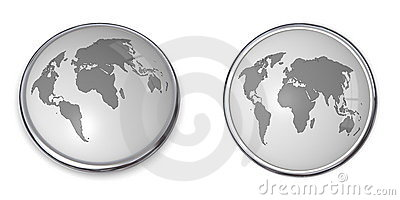 3D Button World Map Grey