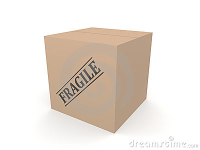 3D cardboard box Fragile