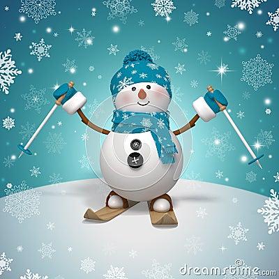 Free 3d Cartoon Character, Funny Skiing Snowman Stock Photography - 35236762