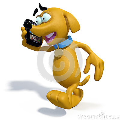 3D cartoon dog talking on phone