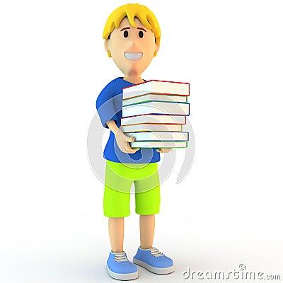 3d cartoon school boy