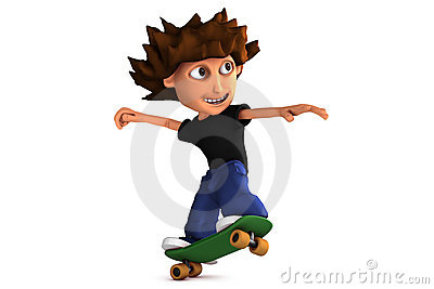3D cartoon skateboarding boy