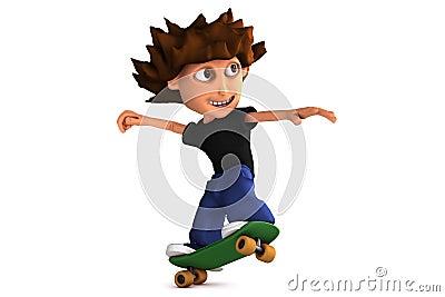 3D cartoon skateboarding boy
