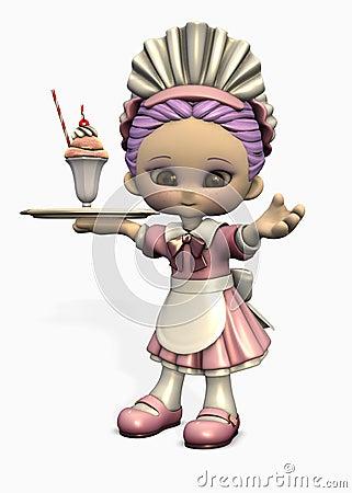 3d cartoon waitress