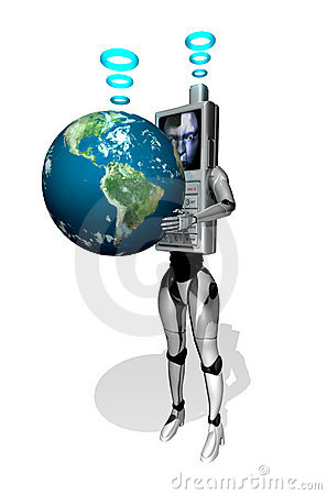 3D cell phone robot with earth
