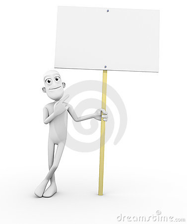 3D Character with blank sign