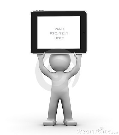 3D Character holding a blank tablet pc