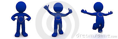 3d character textured with  flag of European Union