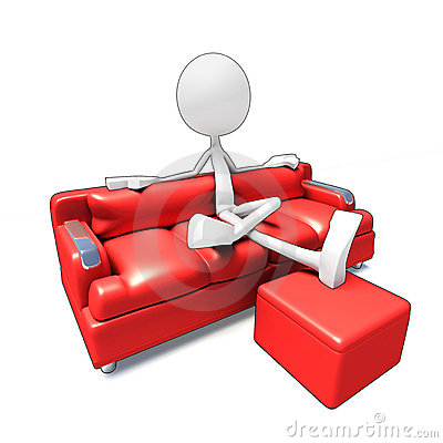 3D character watching Tv from sofa