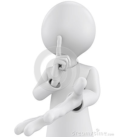 Free 3d Character With Silence Sign Stock Photo - 36686670