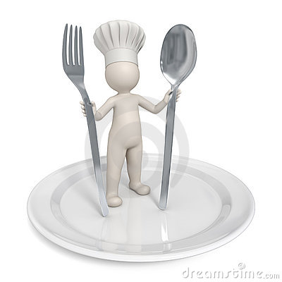 3d Chef - Restaurant symbol with saucer