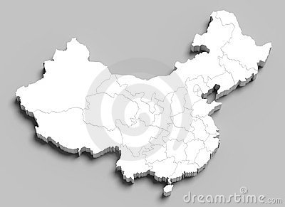 3d China white map on grey