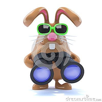 Free 3d Chocolate Easter Bunny With Binoculars Stock Image - 38158961