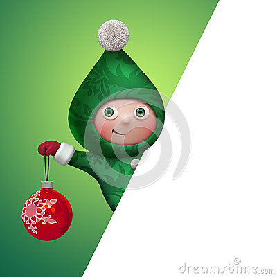 Free 3d Christmas Elf Toy Character Holding Ball Stock Image - 35480271
