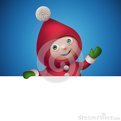 Free 3d Christmas Elf Toy Character With Banner Stock Image - 35480261
