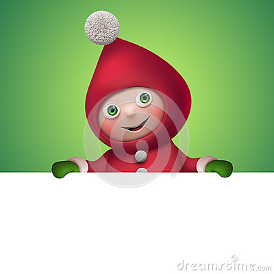 Free 3d Christmas Elf Toy Character With Banner Royalty Free Stock Photography - 35480267