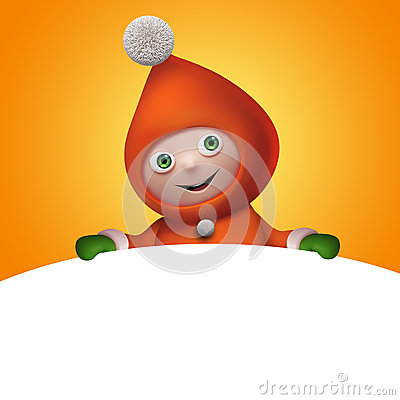 Free 3d Christmas Elf Toy Character With Banner Royalty Free Stock Photo - 35480275
