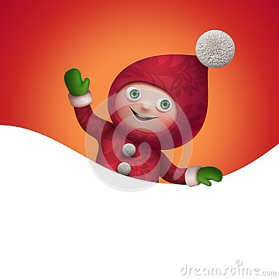 Free 3d Christmas Elf Toy Character With Banner Royalty Free Stock Photography - 35480277
