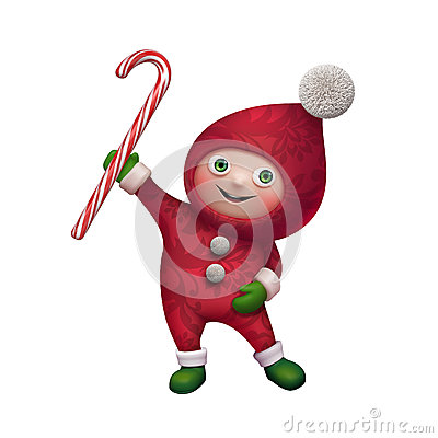 Free 3d Christmas Elf Toy Character With Candy Cane Stock Images - 35480264