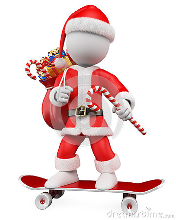 3D Christmas white people. Santa Claus skater
