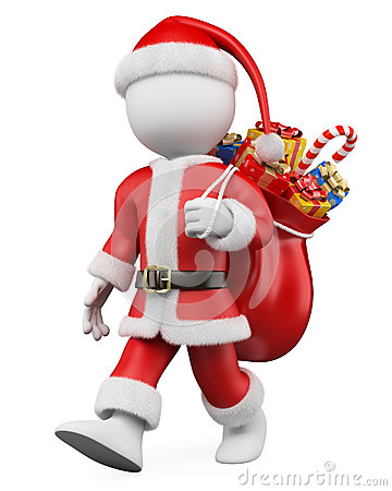 3D Christmas white people. Santa Claus walking