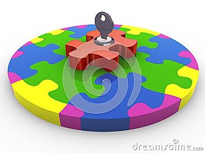 3d circle puzzle lock and key
