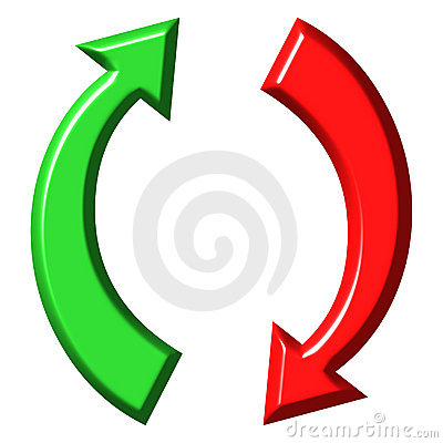 3d circular up and down arrows