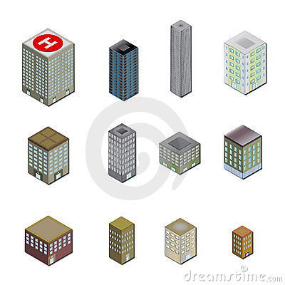 Free 3D City Building Icons Royalty Free Stock Images - 9396019
