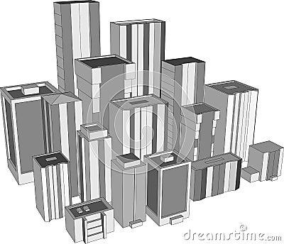3D city skyscrapers