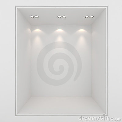 3d clay render of an empty presentation showcase