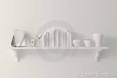 3d clay render of an interior decorations