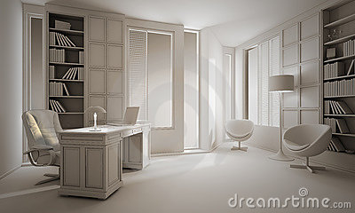 3d clay render of a luxury office interior design