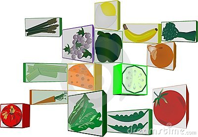 3d clipart of fruit and veggies