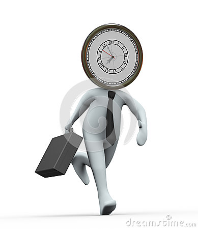3d clock head businessman running