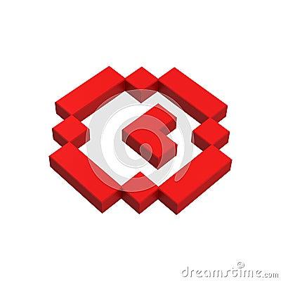 3d clock pixel icon