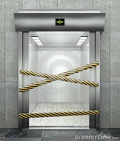 3d closed elevator with open door