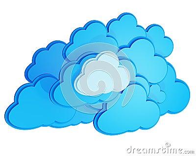 3d cloud computing icon