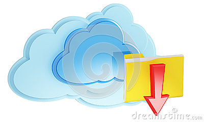 3d cloud computing icon with folder and arrow