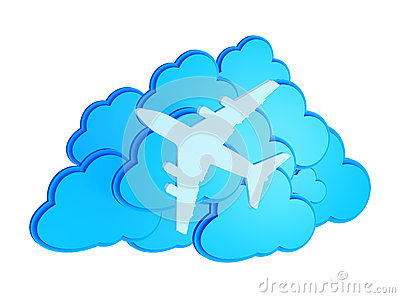 3d clouds with silhouette of jet airliner icon