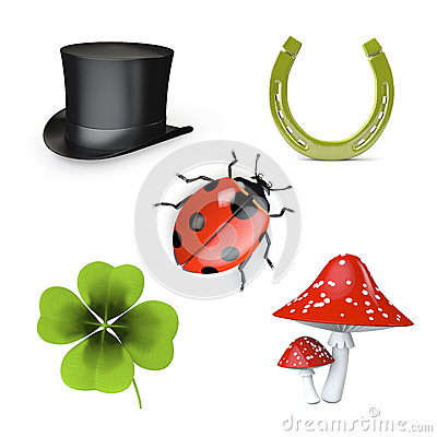 3d collection of good luck symbols