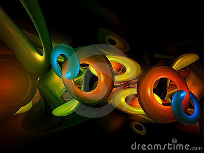 3D Colorful Abstract Shapes Render Backgroun