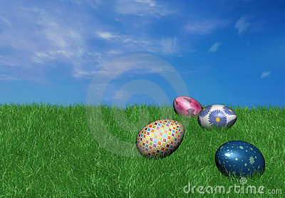 3d colorful easter eggs on grass
