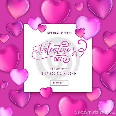 Free 3d Colorful Hearts For Happy Valentines Day Hand Drawn Lettering Design, Love Card Illustration, Wedding Party Flyer Stock Photography - 128780492