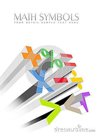 3d colorful math symbols