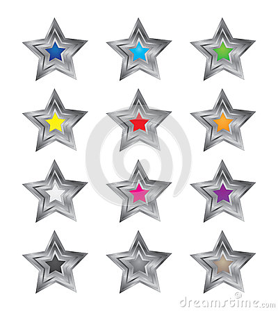 3D Colorful Star Vectors