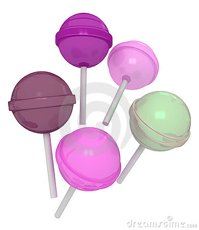 3d colorful sweet lollipops
