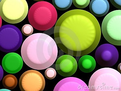 3D - Colorful sweets on black
