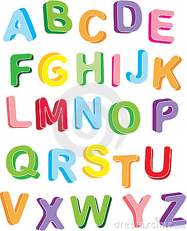 3d colorfull alphabet