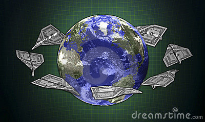 3d concept earth and the money